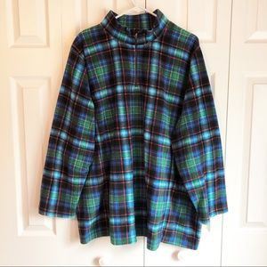Woman Within Blue Plaid Fleece Pullover 2X (26/28)
